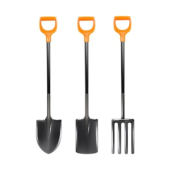 Coleção de ferramentas de jardinagem para cuidar de plantas.