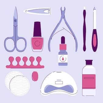 Coleção de ferramentas de manicure ilustrada