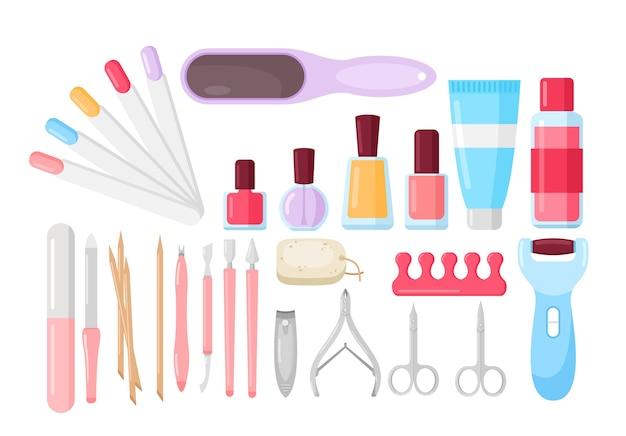 Coleção de ferramentas de manicure isoladas em branco