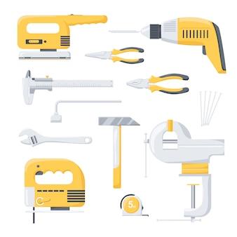 Coleção de ferramentas de trabalhador de reparo de energia elétrica e mecânica. ferramentas elétricas. ferramentas de mão.