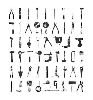 Coleção de ferramentas elétricas e manuais