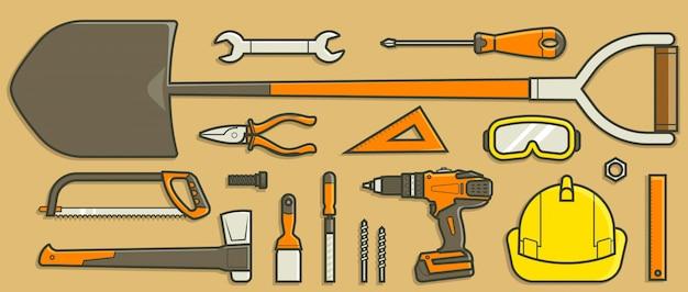 Coleção de ferramentas no conceito de design plano.
