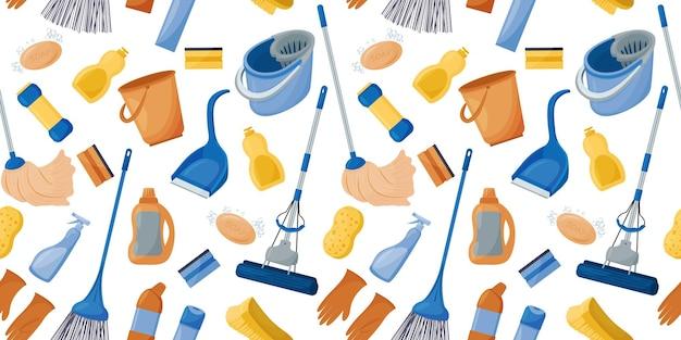 Coleção de ferramentas para limpar a casa padrão uniforme