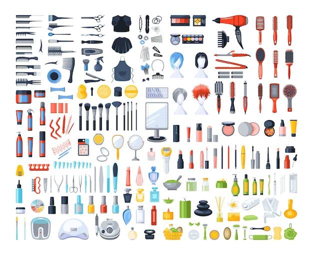 Coleção de ferramentas profissionais para salões de beleza