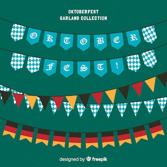 Coleção de festão colorido oktoberfest em design plano