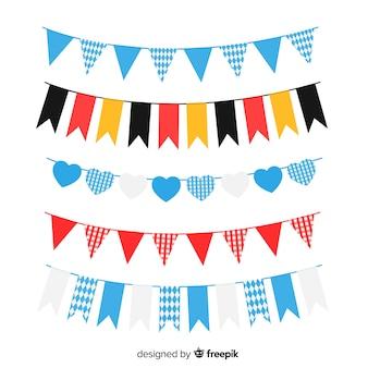 Coleção de festão plana oktoberfest com bandeira da alemanha