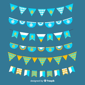 Coleção de festão plana oktoberfest em tons de azuis
