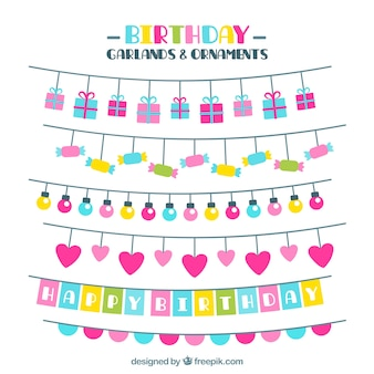 Coleção de festões coloridos do aniversário