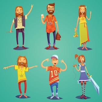Coleção de figuras de pessoas felizes de subcultura