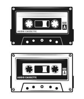 Coleção de fita cassete isolada no branco