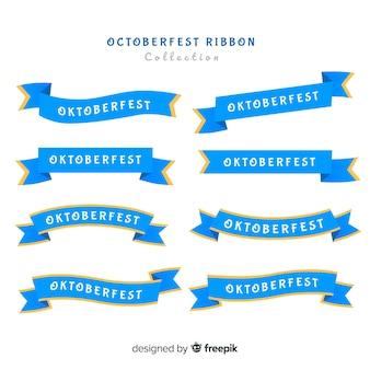 Coleção de fita clássica oktoberfest com design plano