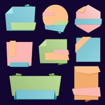 Coleção de fita de design de negócios, adesivos de papel.