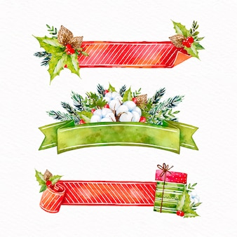 Coleção de fita de natal em aquarela
