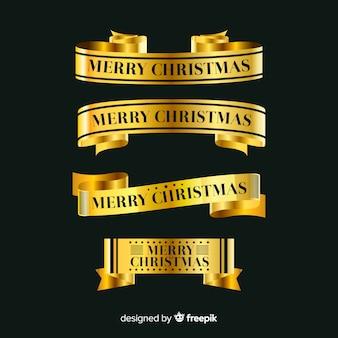 Coleção de fita dourada de natal elegante