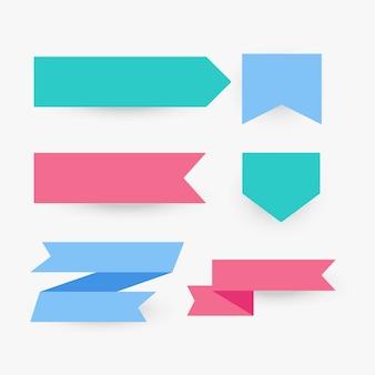 Coleção de fita plana em várias cores