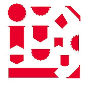 Coleção de fita vermelha em branco banners e etiquetas