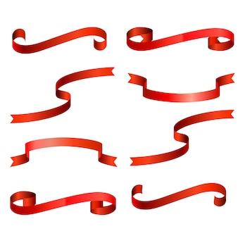 Coleção de fita vermelha isolada.