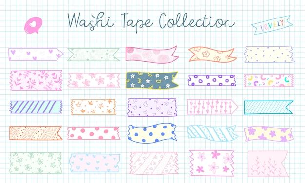 Coleção de fita washi bonito mão desenhada em cor pastel