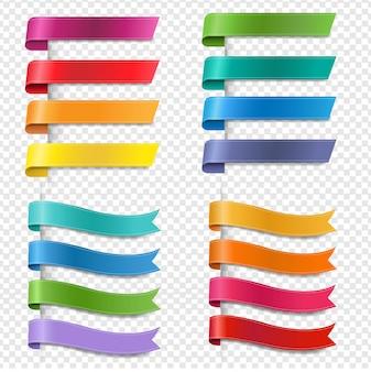 Coleção de fitas coloridas de seda fundo transparente
