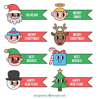 Coleção de fitas com mensagens de natal e caracteres agradáveis