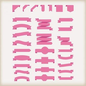 Coleção de fitas cor de rosa