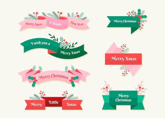 Coleção de fitas de natal de design plano