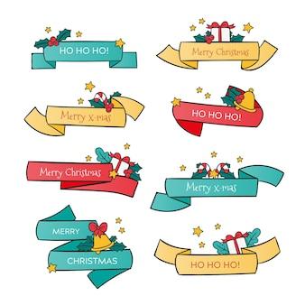 Coleção de fitas de natal desenhada à mão