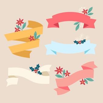 Coleção de fitas de natal em design plano