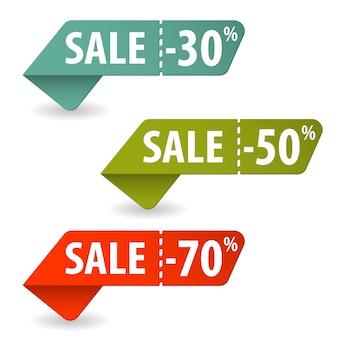 Coleção de fitas de venda ou pricetag
