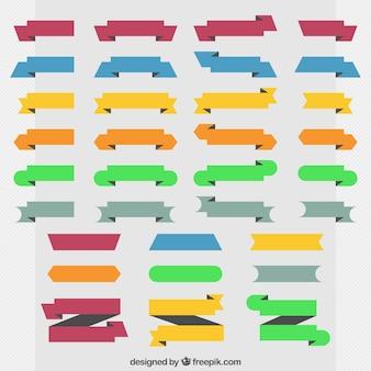 Coleção de fitas decorativas coloridas no design plano
