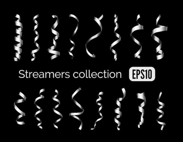 Coleção de fitas decorativas de prata brilhante e fitas de aço curling isoladas em fundo preto