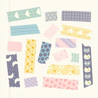 Coleção de fitas decorativas desenhadas de washi