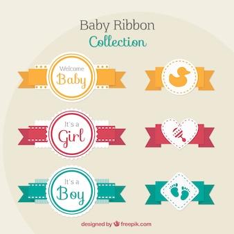 Coleção de fitas do bebê em cores diferentes
