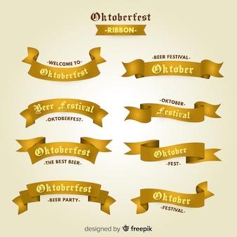 Coleção de fitas oktoberfest em design plano