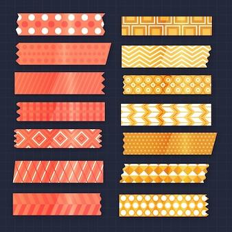 Coleção de fitas planas de washi de diferentes cores