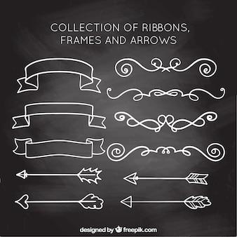 Coleção de fitas, quadros e flechas em estilo de lousa