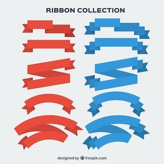 Coleção de fitas vermelhas e azuis do vintage no design plano