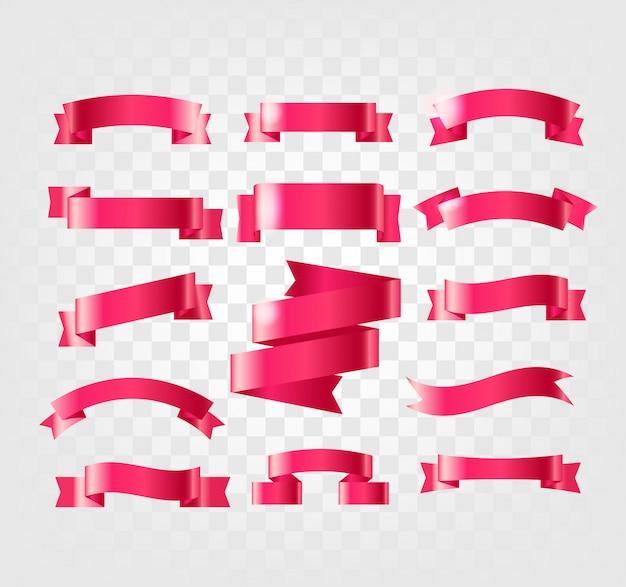 Coleção de fitas vermelhas isolada em transparente