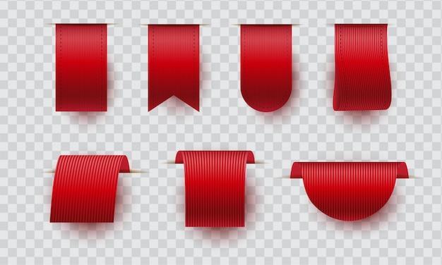 Coleção de fitas vermelhas realista. conjunto de etiquetas ou rótulos de preço.