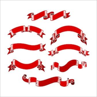 Coleção de fitas vermelhas
