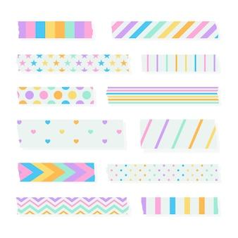 Coleção de fitas washi de design plano