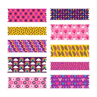 Coleção de fitas washi desenhada à mão