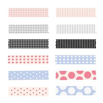 Coleção de fitas washi plana e adorável
