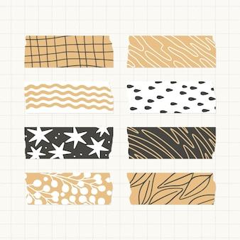 Coleção de fitas washi planas e lindas