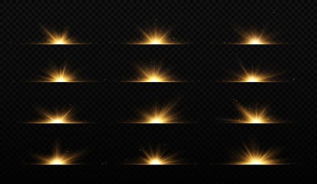 Coleção de flashes de luzes e faíscas efeitos linhas de brilho brilho explosão luz dourada