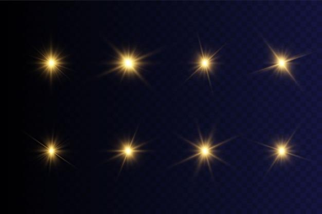 Coleção de flashes, luzes e faíscas. explosão de explosão de luz brilhante transparente. estrela brilhante. sinal luminoso.