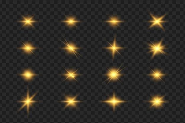 Coleção de flashes, luzes e faíscas. lâmpadas ópticas.