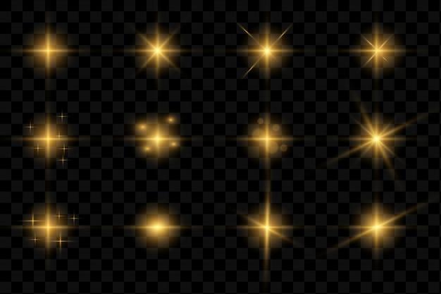 Coleção de flashes, luzes e faíscas. Vetor Premium