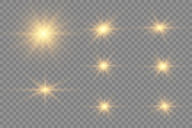 Coleção de flashes, luzes e faíscas.