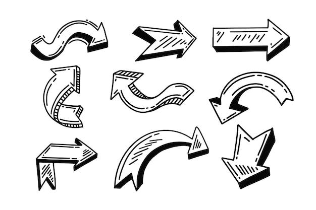 Coleção de flecha de desenho animado